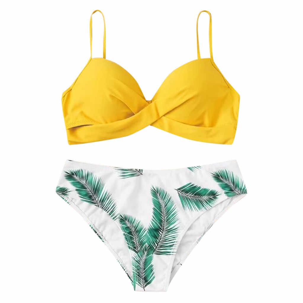女性の水着夏セクシーなツーピースビキニセット葉印刷プッシュアップ入りブラジャーモノキニ水着 2020 ビーチウェア biquini