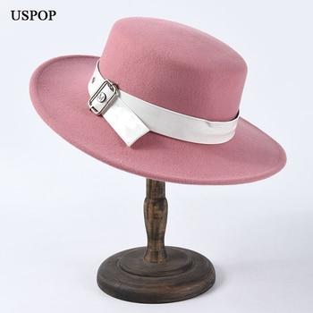 USPOP, sombreros de lana para invierno, sombreros de lana para mujer, sombreros planos a la moda, cinturón de borde ancho, sombrero decorado para mujer