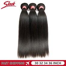 Les paquets brésiliens droits élégants darmure de cheveux traitent des vendeurs dextension de cheveux humains 30 32 34 36 pouces Remy 1/3/4 paquets de cheveux humains