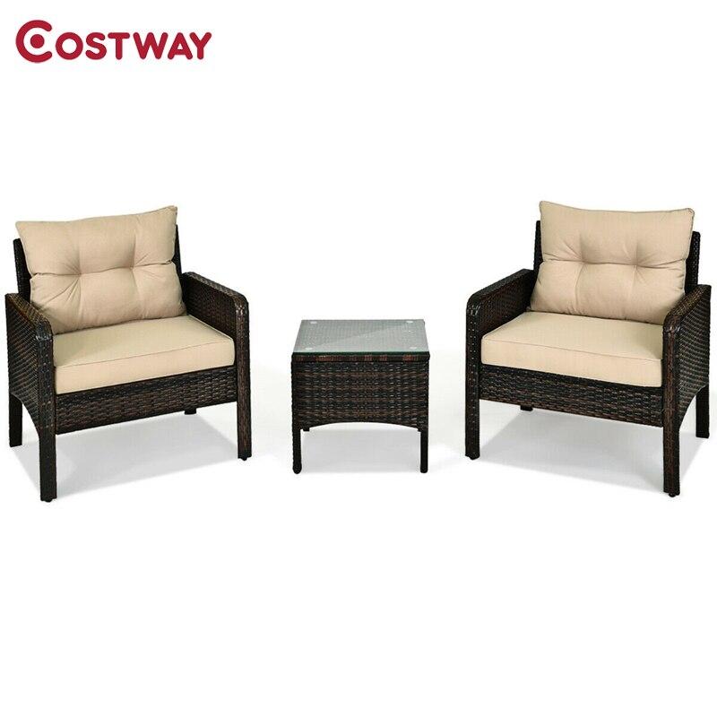 costway patio furniture 3 piece set outdoor patio rattan conversation set hw63760
