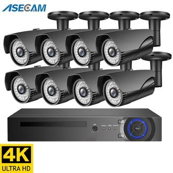 Kamera monitorująca wideo 4K 8MP zestaw H.265 bezpieczeństwo w domu System CCTV szara metalowa kamera IP zewnętrzny zestaw nagrywania POE NVR