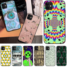 OFFeier Alien colorful Soft Silicone Black Phone Case For iPhone 5 6 6S 7 8 plus X XS XR XS MAX 11 11 pro 11 Pro Max offeier alien ghost diy luxury phone case for iphone 5 6 6s 7 8 plus x xs xr xs max 11 11 pro 11 pro max