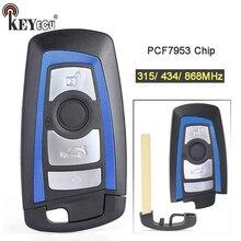 KEYECU 315/434/868MHz PCF7953 שבב CAS4 +/FEM החלפת 3 + 1 4 כפתור מרחוק מפתח Fob עבור BMW 1 2 3 4 5 6 7 סדרת X3 M2 כחול