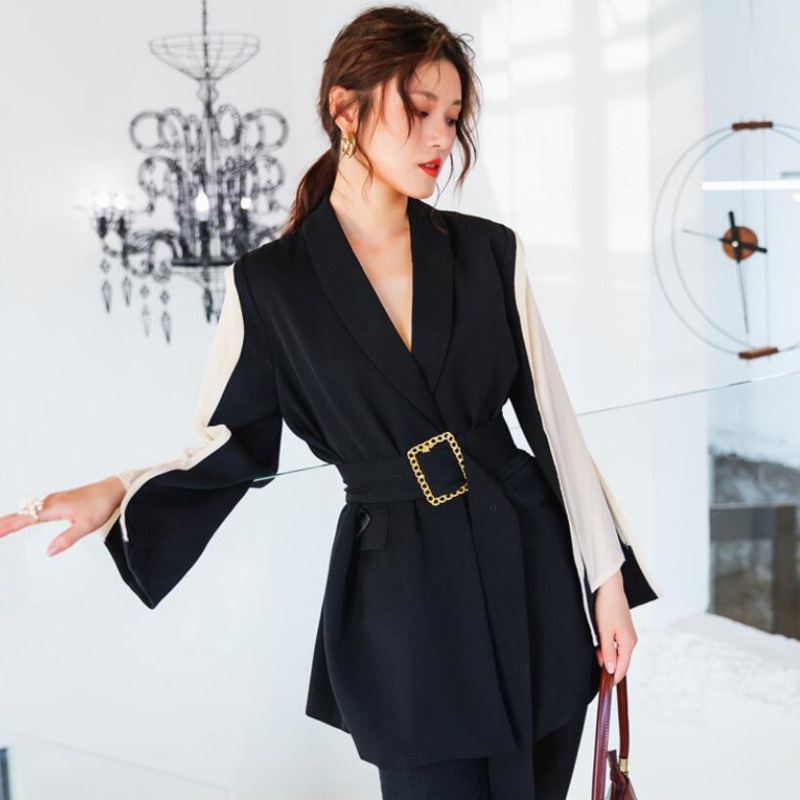 LANMREM 2020 New Spring And Summer High Street Women's Clothes Contrast Color Flare Sleeves Waist Belt Blazer WK97001L