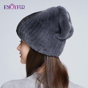 Image 3 - Sombrero de piel de Invierno para mujer, gorro de piel de conejo rex natural, diseño de lazo, gorros de moda, sombreros de piel de invierno rusos