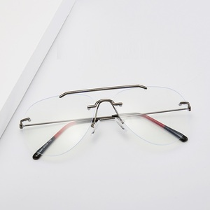Image 3 - Cubojue Randloze Bril Frame Mannen Vrouwen Mode Luchtvaart Brillen Man Mode Frameloze Bril Voor Prescription Optic