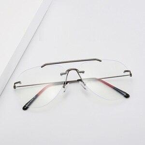 Image 3 - Cubojue Rimless Glasses Frame Men Women Fashion Aviation Eyeglasses Man Fashion Frameless Spectacles for Prescription Optic