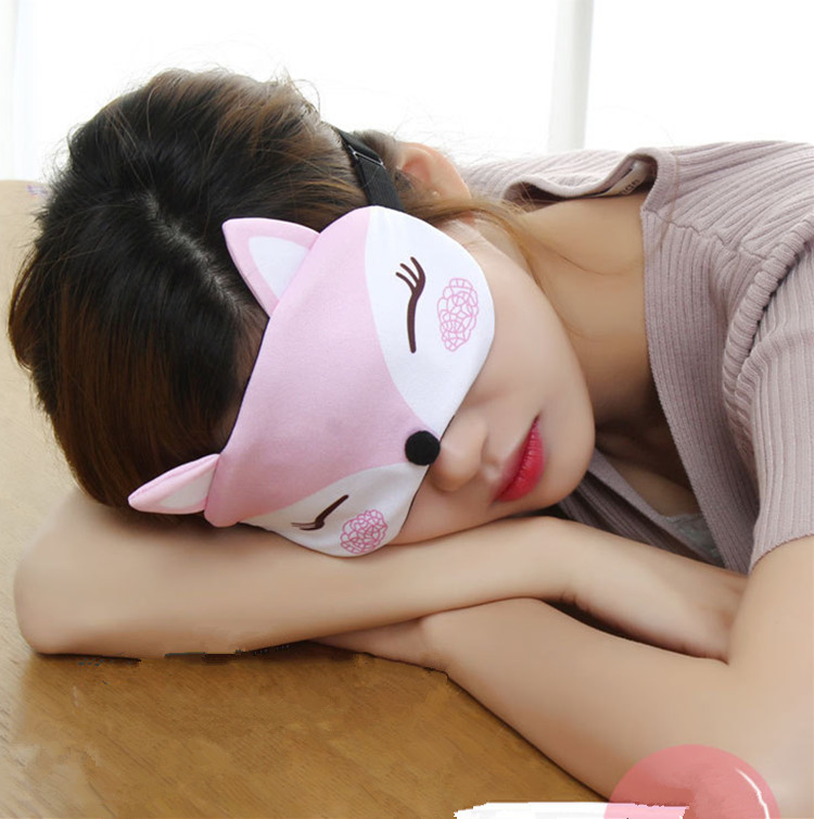 Cute Travel Eyepatc Soft Blindfold Fox 3D Sleep Mask Natural Sleeping Eye Mask Eyeshade Cover Eye Patch For Women Men