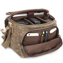 Bolso de hombro Vintage de lona para fotografía, bandolera para cámara SLR, bolsa de transporte pequeña, informal, de viaje, para Nikon, Sony, Canon