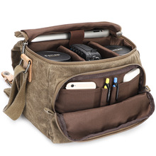 Vintage Canvas Photography Shoulder Bag Sling SLR Camera Carrying Case Small Travel Casual Messenger Bags for Nikon Sony Canon