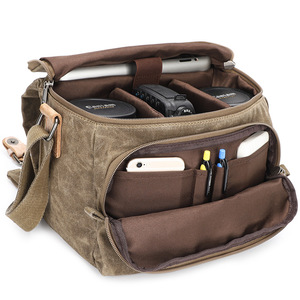 Image 1 - Vintage قماش التصوير حقيبة الكتف الرافعة SLR كاميرا حمل حقيبة سفر صغيرة عادية رسول حقائب Nikon سوني كانون