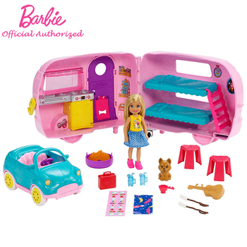 Brabie Doll Toys Chelsea Club Camping Vehicle Mini Doll With Car Accessories Travel Barbie Kid Toys For Christmas Gift FXG90