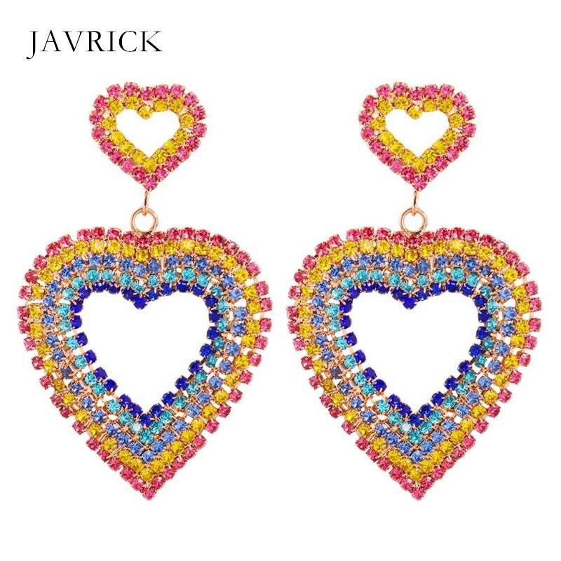 Crystal-Earrings Ear-Accessories Rhinestone Jewelry Colorful Women Lady Gift Rainbow