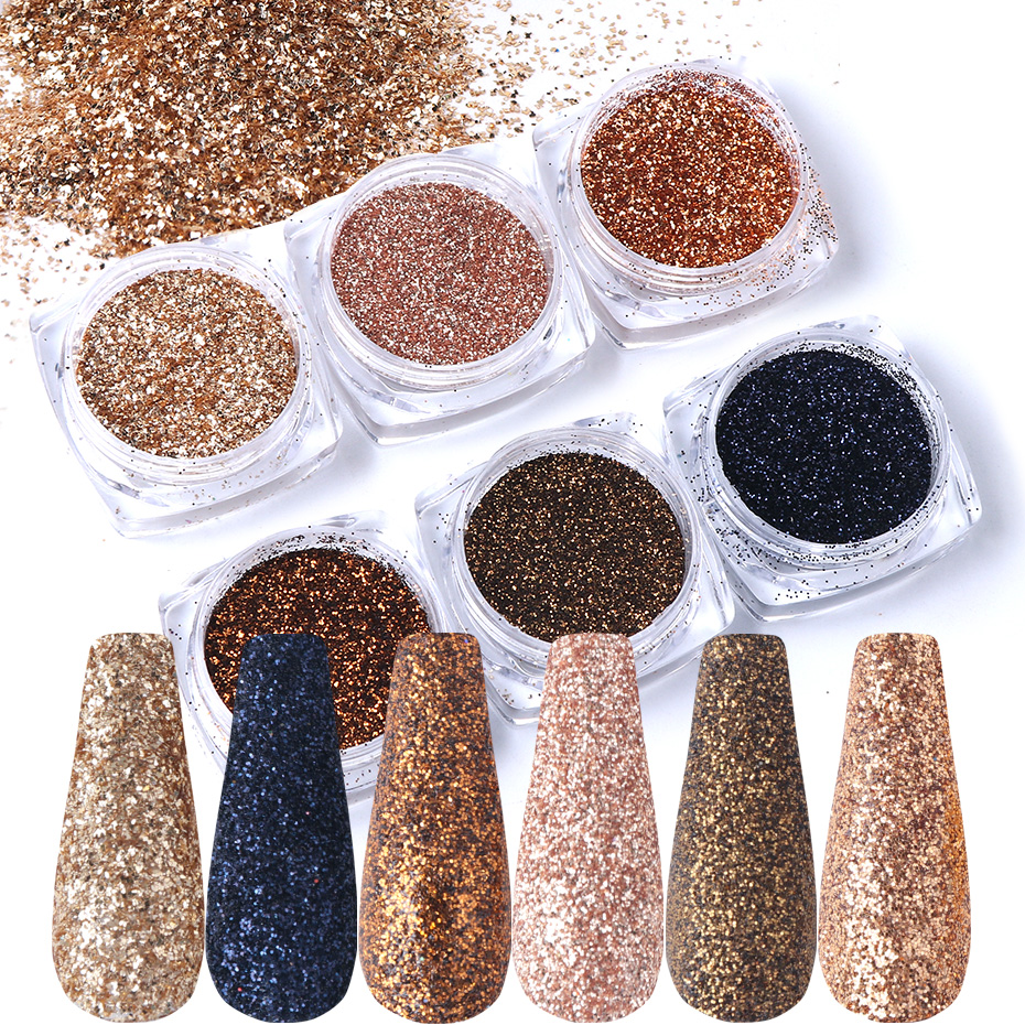 6pcs Nail Glitter Rose Gold Colors Sandy Powder Shiny Luxury Sparkles Nail Art Sequins Pigment Flakes Dust 3D Decorations TR1539