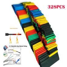 Tubos termorretráctiles, 5 colores, 8 diversos tamaños, conjunto de mangas de envoltura de tubo, Combo, 328 Uds.