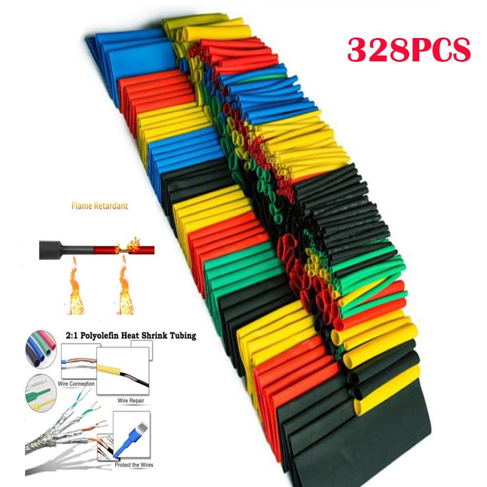 328 Pcs Schrumpf Schläuche 5 Farben 8 Größen Assorted Rohr Wrap Hülse Set Combo