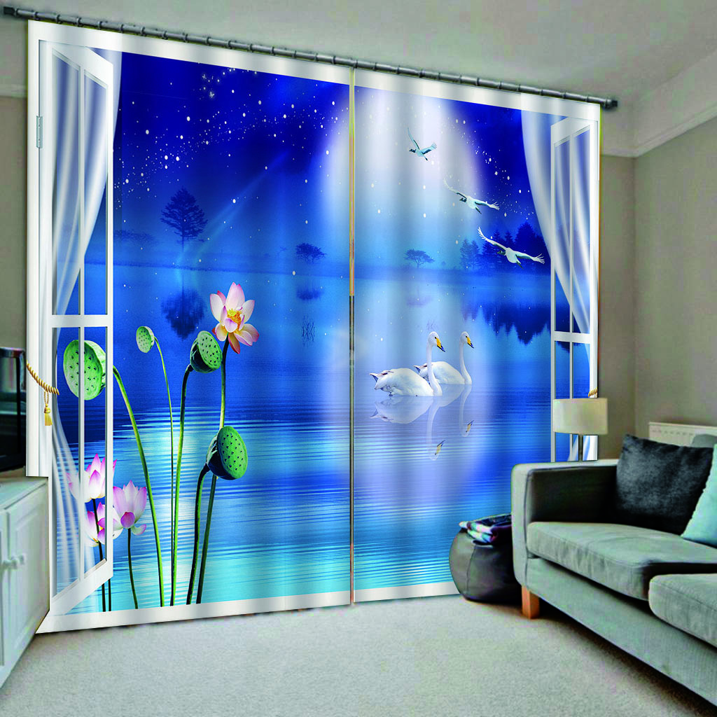 Pink louts curtain moon curtains 3D Curtain Luxury Blackout Window Curtain Living Room blackout bLue curtain
