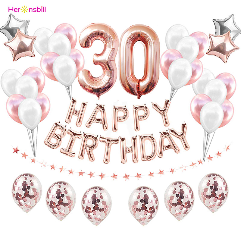 37pcs 30th 40th <font><b>50th</b></font> 60th Happy <font><b>Birthday</b></font> Balloons Kits 30 50 Years Party <font><b>Decorations</b></font> Adult Men Women Supplies Photo Booth Props image