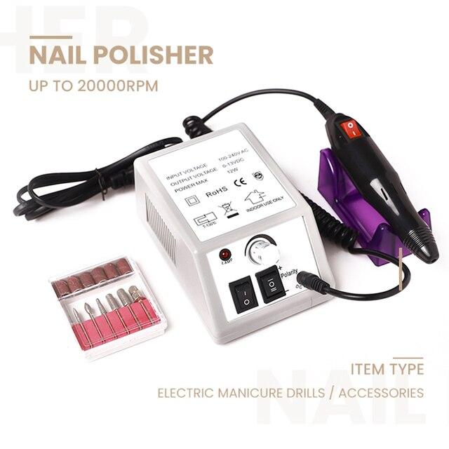 Machine électrique professionnelle de manucure de perceuse à ongles avec des forets 6 Bits pédicure Nail art stylo fichier manucure outil de polissage meuleuse
