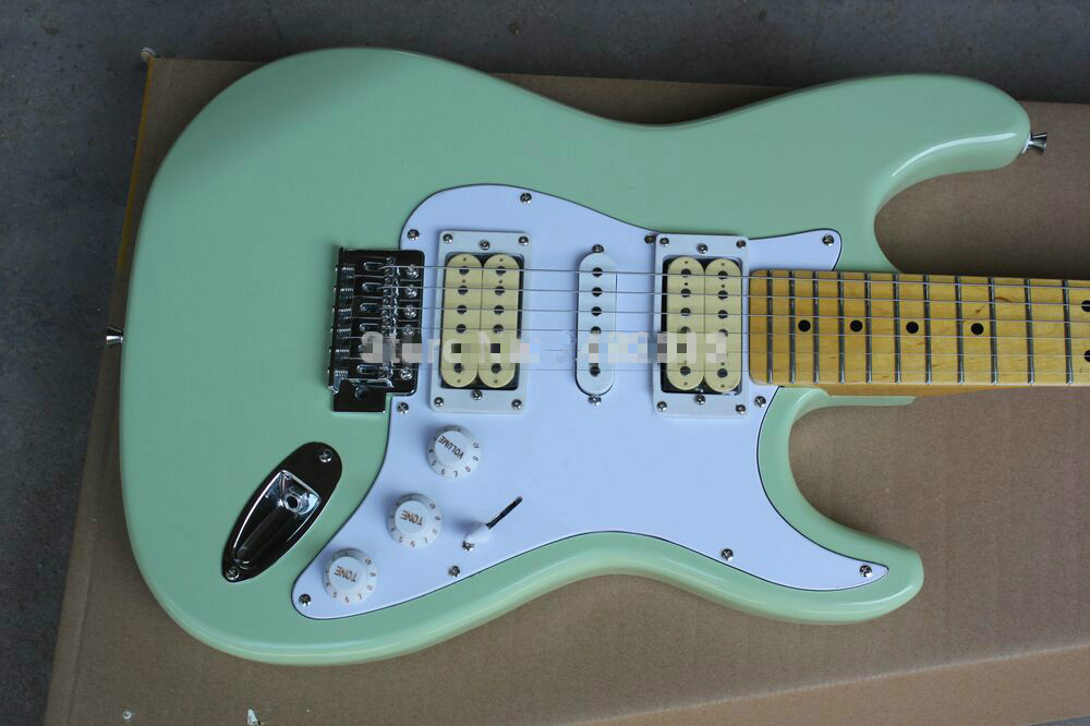 Top Quality FPST-1014 Light Green Color Solid Body White Pickguard Maple Fretboard 6 Strings  Electric Guitar, Free Shipping