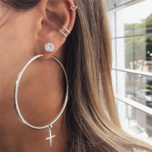Simple Fashion Gold Crystal Cross Big Round Hollow Ring Heart Shape Earrings For Women Bohemia Vintage Drop Earrings Jewelry vintage cross hollow design alloy ring for women