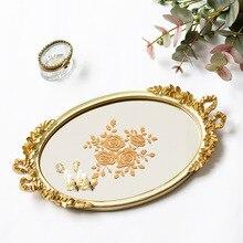 Bandeja de almacenamiento de joyas de tocador de lujo con luz blanca Vintage, mesa de postre, lazo de color dorado, bandeja de espejo