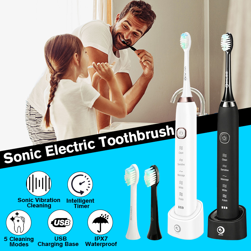 DIGOO YS11 5 Brush Modes Automatic Electric Toothbrush IPX7 Waterproof USB Rechargeable Whitening Oral Health Care Best Gift