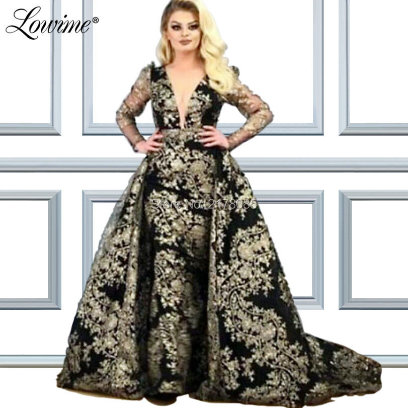 Muslim Glitter Middle East Women V Neck   Evening     Dress   Long Sleeves Dubai Arabic Party Gowns Robe De Soiree 2019 Prom   Dresses