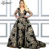 Muslim Glitter Middle East Women V Neck Evening Dress Long Sleeves Dubai Arabic Party Gowns Robe De Soiree 2019 Prom Dresses