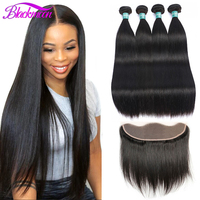 Brazilian Straight Bundles with Lace Frontal Closure 100% Human Hair Weave with Frontal Remy Hair Double Drawn Natural Color