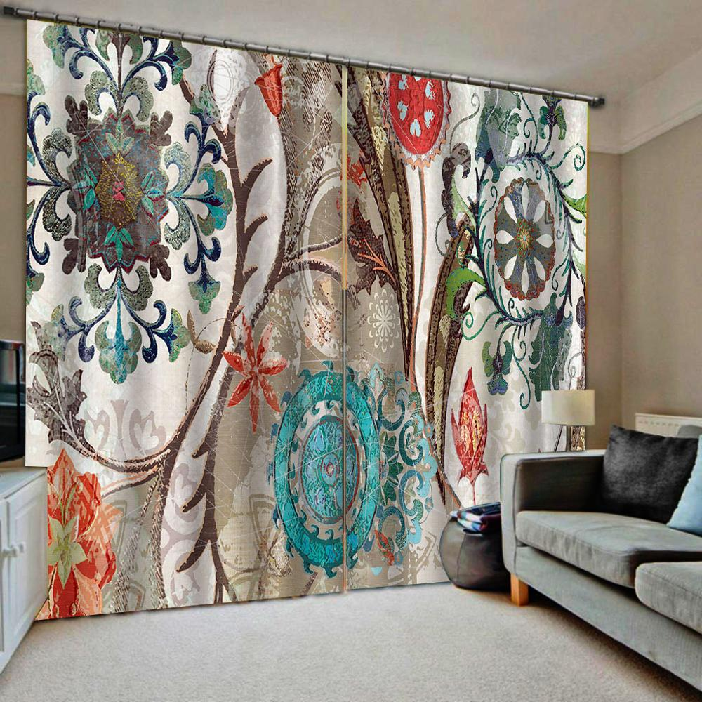 European Retro Pattern Curtains Blackout Living Room Bedroom Modern Curtains Flower Decor KTV Home Hotel Drapes
