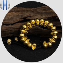 Skull Pure Gold Punk Bracelet 24K Original Jewelry