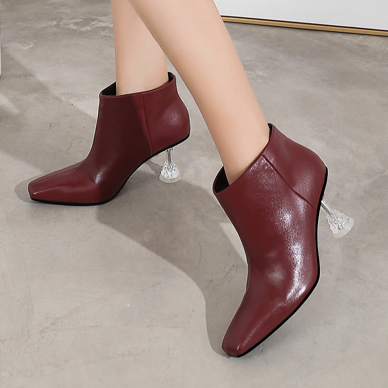2019 new autumn and winter square head crystal ankle boots high heels Fashion booties Wine red High heel women's boots boty obuv