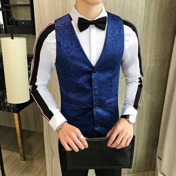 Men Vest Embossing Single Breasted V-neck Waistcoats Mens Slim Suit Vest Casual Sleeveless Jacket Vests For Wedding Groomsmen electric cloth knife 220v 110v 170w fabric cutting tools leather cloth electric cutter machine blade power tools cutting saws