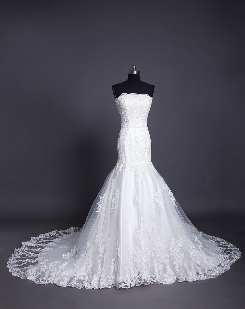 New Fashionable Bride Beading Vestido De Noiva 2016 Custom Sexy Long Casamento Lace Appliques A-line Wedding Dress Free Shipping