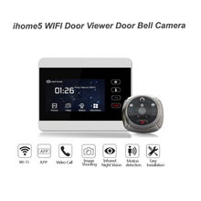 ROLLUP 와이파이 도어 뷰어 Doorbel 와이파이 IR PIR 나이트 비전 도어 HD 카메라 원격 감시 도어 벨과 5 인치 도어 디스플레이
