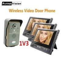 KDB702 1v3 wireless video intercom systerm 7 inch Monitor smart Video Doorbell Door Phone with Night Vision 2 Way Audio