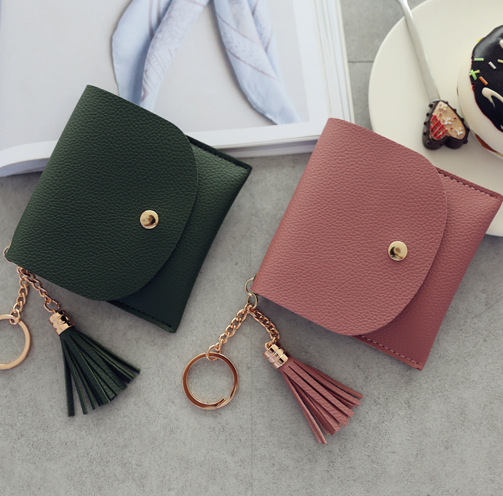 2.99US $ 25% OFF Wallets Women Coin Purse Ladies Pu Leather Tassel & Metal Ring Clutch Keychain Thin...