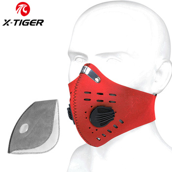 X-TIGER Cycling Face Mask PM 2.5 Bike Mask Activated Carbon Breathing Valve Sports Masks With Anti-Pollution Filter 12