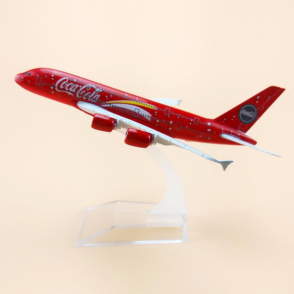 Металлический сплав, красный цвет, модель самолета летательных аппаратов Airbus 380, модель самолета, детские подарки, 16 см