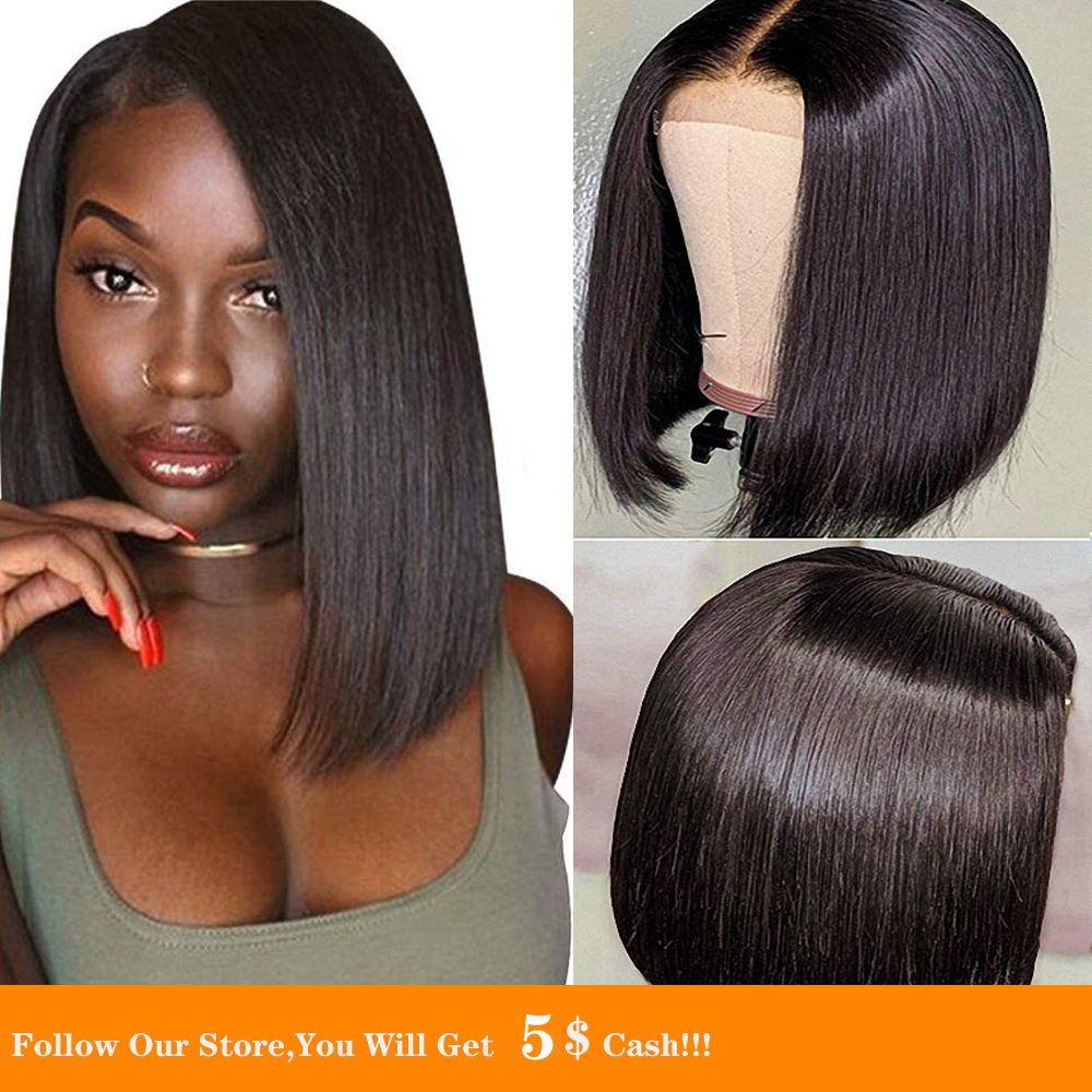 13x4 Short Straight Bob Hair Synthetic Lace Front Wig Black Silky Gluless Small Size Heat Resistant Wig For Women With Baby Hair