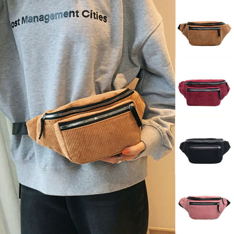 Fashion Ladies Women Zipper Solid Waist Bag Corduroy Bum Bag Fanny Money Wallet Travel Holiday Belt Pouch Small Chest Bag