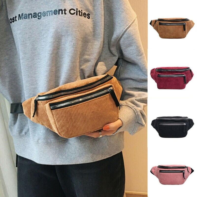 Fashion Ladies Women Zipper Solid Waist Bag Corduroy Bum Bag Fanny Money Wallet Travel Holiday Belt Pouch Small Chest Bag