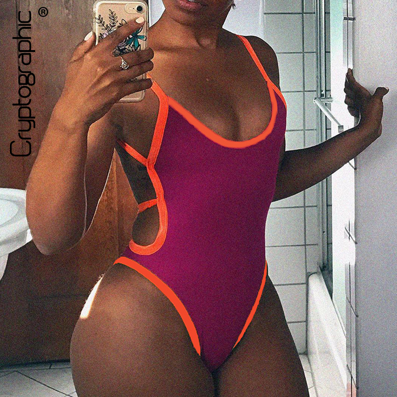 Cryptographic Women's Jumpsuits 2020 Sexy Strap Backless Hollow Out Women Bodysuits Fashion Color Blocking Slim Female Clothes