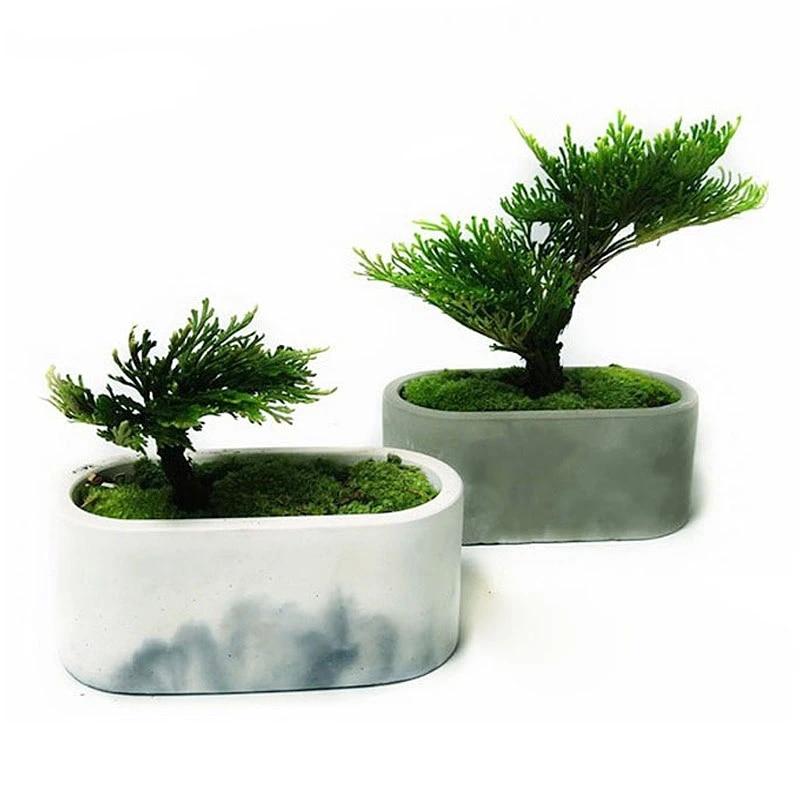 2 pieces ensemble silicone pot moule pour beton ovale design creatif ciment pot plante pot de fleur moule outils de bricolage boite de rangement