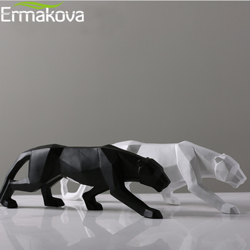 ERMAKOVA Panther Statue Animal Figurine Abstract Geometric Style Resin Leopard Sculpture Home Office Desktop Decoration Gift