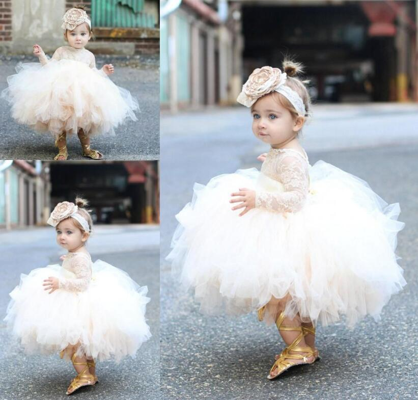 Champagne Tulle Newborn Baby Girls Baptism Dress 1st Birthday Newborn Princess Christening Gown Outfit Baby Girl Party Vestidos