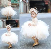 Тюлевое платье цвета шампанского для новорожденных девочек, платье для крещения на 1-й день рождения, платье для новорожденных принцесс, нар...