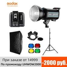 Godox – stroboscope de Studio professionnel QS400II 400Ws GN65, support lumineux de 2.8m, boîte à lumière à grille de 60x90cm, déclencheur, Kit de porte de grange