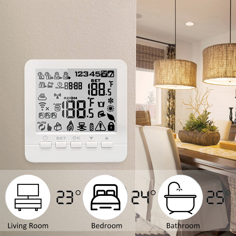 Water/Gas Boiler Thermostat Programmable Temperature Controller Work with Echo Alexa Voice Control Home System